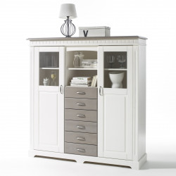 CORDOBA Highboard 2-trg Kommode Kiefer massiv weiß/taupe lackiert