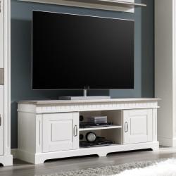 CORDOBA Lowboard 2-trg TV-Kommode Kiefer massiv weiß/taupe lackiert