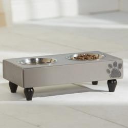 KAHU Hunde Katzen Feeder Chevron - Fressnapf mit 2 Schalen - KaHu Pet Furniture