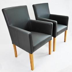 THEO Armlehnstuhl in Echtleder Beine aus Buche oder Eiche
