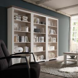 CORDOBA 3x Bücherregale Kiefer massiv weiß/taupe lackiert
