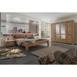 TORONTO Schlafzimmer aus Asteiche Schrank 4-trg Bett 200x200 2 Nakos