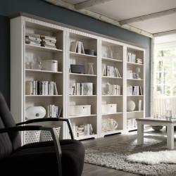 CORDOBA 4x Bücherregale Kiefer massiv weiss/taupe lackiert