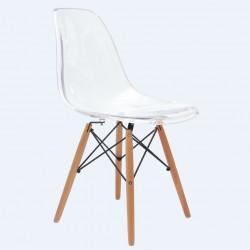 NORDISK Design Stuhl Schalensitz transparent Beine aus Buche klar lackiert