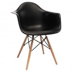 NORDISK Design Armlehnstuhl mit schwarzem Kunststoff Schalensitz Beine aus Buche