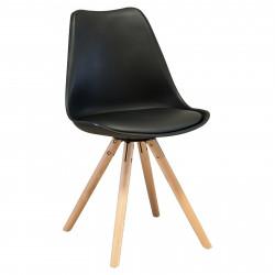 NORDISK Design Stuhl Schalensitz gepolstert schwarz Beine Buche klar lackiert