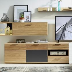 ACHAT TV-Unterschrank mit 2 Türen und 2 Schubkästen aus teilmassiver Wildeiche BIANCO geölt