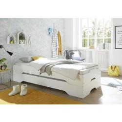 Stapelbetten-Set mit Matratzen 2x 90x200 cm Kiefer massiv weiß Amrum Ester H3
