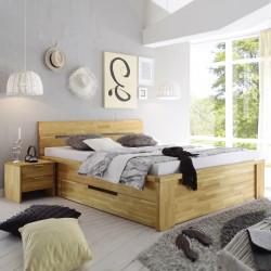 SALERNO Doppelbett mit Schubladen 160x200 Wildeiche massiv geölt