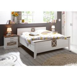 Doppelbett Pinie weiß 180x200 Absetzungen Trüffel Dekor Gotland