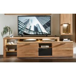BIANCO TV-Lowboard mit Aufsatz Wildeiche Bianco teilmassiv inkl. Beleuchtung BIANCO
