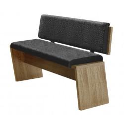 BIANCO Sitzbank 126 cm Wildeiche Bianco NB + Sitzkissen Stoff grau meliert