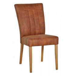 BROOK Polsterstuhl im Stoffbezug in Leder Optik cognac farbig mit massiven Buche Beinen