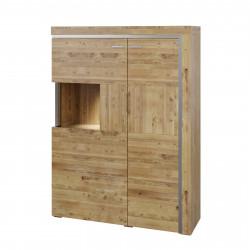 BASEL halbhoher Schrank mit 2 Türen links Glas aus Asteiche