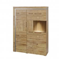 BASEL halbhoher Schrank mit 2 Türen Glas rechts aus Asteiche