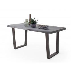 CALVERA Esstisch 200x100x79,5 cm Akazie grau sandgestrahlt lackiert inkl Stahlgestell Trapezform antik