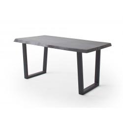 CALVERA Esstisch 240x100x79,5 cm Akazie grau sandgestrahlt lackiert inkl Stahlgestell Trapezform anthrazit