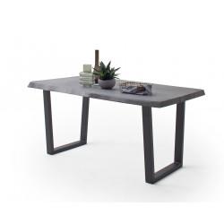 CALVERA Esstisch 220x100x79,5 cm Akazie grau sandgestrahlt lackiert inkl Stahlgestell Trapezform anthrazit