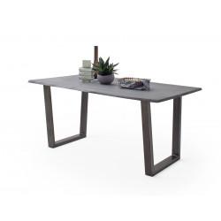CALVERA Esstisch 180x90x76,5 cm Akazie grau sandgestrahlt lackiert inkl Stahlgestell Trapezform antik