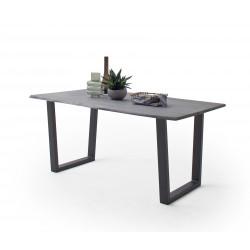 CALVERA Esstisch 160x90x76,5 cm Akazie grau sandgestrahlt lackiert inkl Stahlgestell Trapezform anthrazit