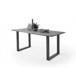 CALVERA Esstisch 160x90x76,5 cm Akazie grau sandgestrahlt lackiert inkl U-Form Stahlgestell antik