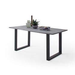 CALVERA Esstisch 160x90x76,5 cm Akazie grau sandgestrahlt lackiert inkl U-Form Stahlgestell anthrazit