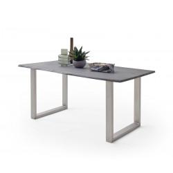 CALVERA Esstisch 160x90x2,5 cm Akazie grau sandgestrahlt lackiert inkl U-Form Edelstahlgestell