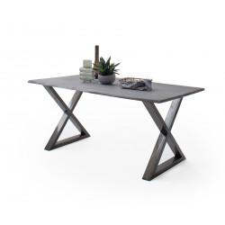 CALVERA Esstisch 180x90x76,5 cm Akazie grau sandgestrahlt lackiert inkl X-Form Stahlgestell antik