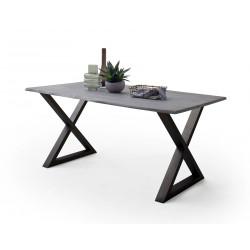 CALVERA Esstisch 180x90x76,5 cm Akazie grau sandgestrahlt lackiert inkl X-Form Stahlgestell anthrazit
