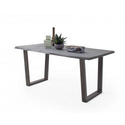 CALVERA Esstisch 180x100x77,5 cm Akazie grau sandgestrahlt lackiert inkl Stahlgestell Trapezform antik