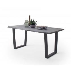 CALVERA Esstisch 180x100x77 cm Akazie grau sandgestrahlt lackiert inkl Stahlgestell Trapezform anthrazit