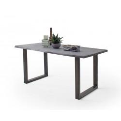 CALVERA Esstisch 180x100x77 cm Akazie grau sandgestrahlt lackiert inkl U-Form Stahlgestell antik