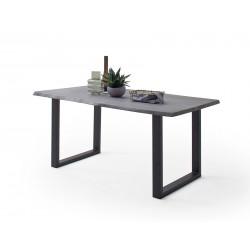 CALVERA Esstisch 180x100x77 cm Akazie grau sandgestrahlt lackiert inkl U-Form Stahlgestell anthrazit