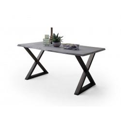 CALVERA Esstisch 180x100x77 cm Akazie grau sandgestrahlt lackiert inkl X-Form Stahlgestell anthrazit