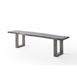 CALVERA Bank 200x40 Akazie grau sandgestrahlt inkl U-Form Stahlgestell antik