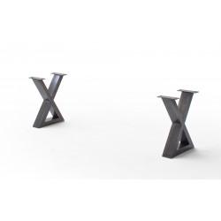 CALVERA Bankgestell X-Form antik gewischt 2er Set