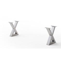 CALVERA Bankgestell X-Form Edelstahl gebürstet 2er Set