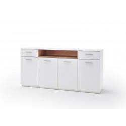 CESINA von MCA Sideboard 4-trg. 2-Sk. weiß matt & Asteiche