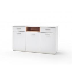 CESINA von MCA Sideboard 3-trg. 2-Sk. weiß matt & Asteiche