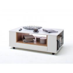 CESINA von MCA Couchtisch 115x70 cm weiß matt & Asteiche