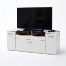 CESINA von MCA TV-Lowboard 150 cm 2-trg 1-Sk weiß matt & Asteiche