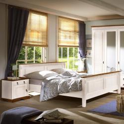 SEVILLA Doppelbett Bett Kiefer massiv weiß