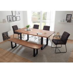 DELHI Essgruppe mit Sitzbank und 4 Stühlen Akazie massiv Metall schwarz