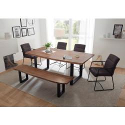 Essgruppe mit Sitzbank und 4 Stühlen Akazie massiv Metall schwarz DELHI