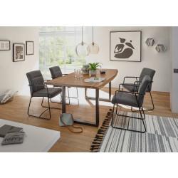 Essgruppe mit 4 Stühlen Akazie massiv Metall schwarz DELHI