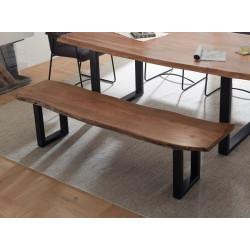 Sitzbank mit Baumkante 160 cm Akazie massiv Metall schwarz DELHI