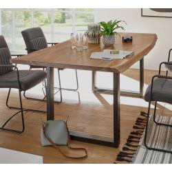 Esstisch mit Baumkante 180x90 Akazie massiv Metall schwarz DELHI