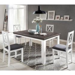 LAVENTE Esstisch 140-210x90 ausziehbar Kiefer massiv weiß - trüffel + 4x Stühle