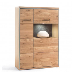 ESPERO von MCA Kombi-Highboard schmal Links Asteiche BIANCO teilmassiv