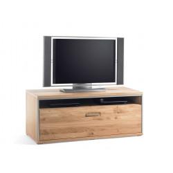 TV-Lowboard Eiche bianco 124 cm Höhe 51 cm mit Schublade teilmassiv Espero